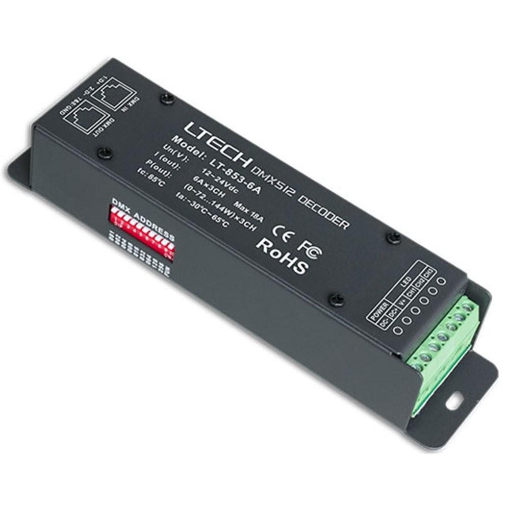 LT-853-6A DMX-pwm 3 CH 18A 24V CV décodeur contrôleur pour Signle Couleur, Deux Lampes à LED RVB Couleur Description du produit
