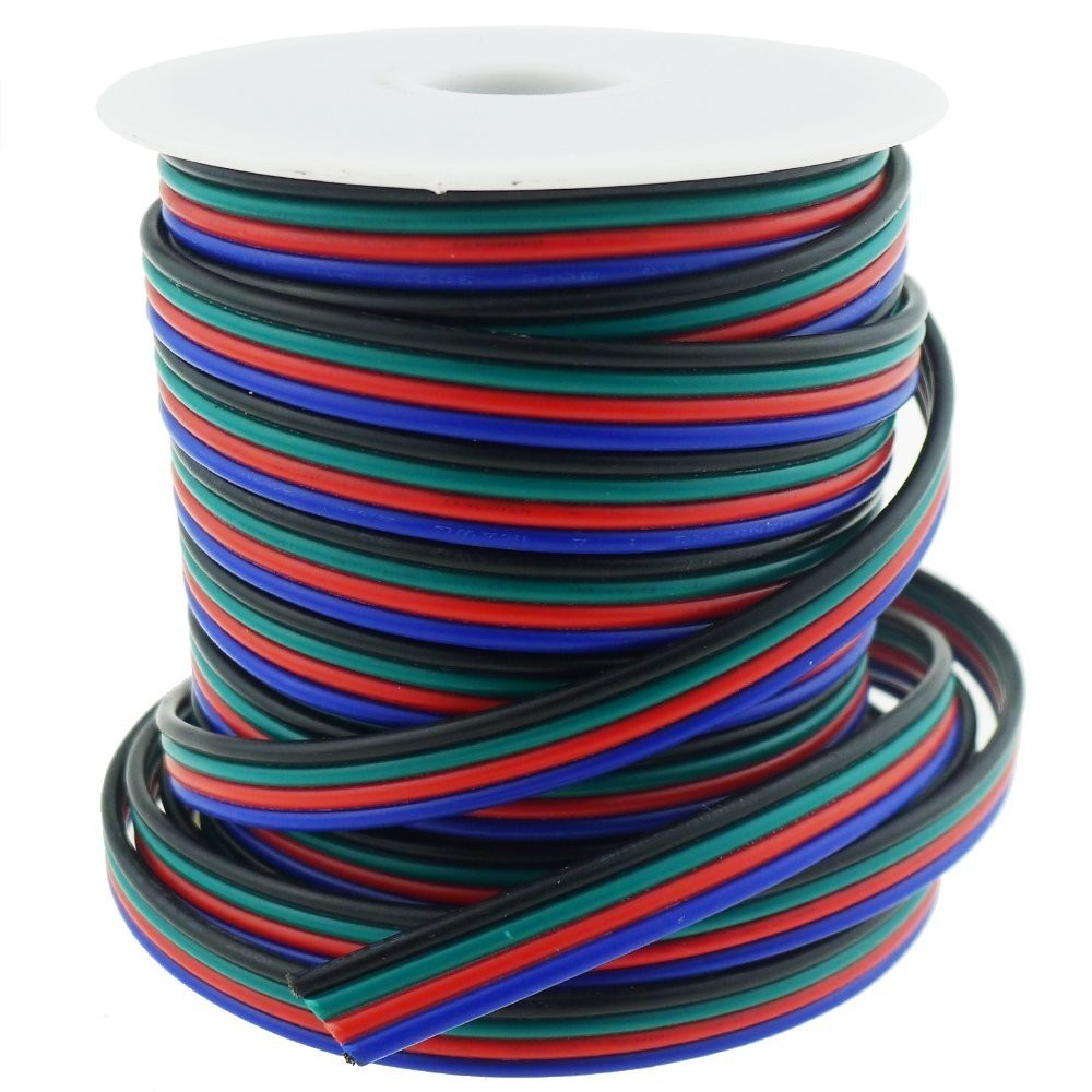 40FT Calibre 18 Bande LED RGB Extension Cable 18AWG 4pin 4 Couleur Support de Fil conducteur pour SMD 5050 3528 Lampe Ruban RGB LED Bande d'éclairage