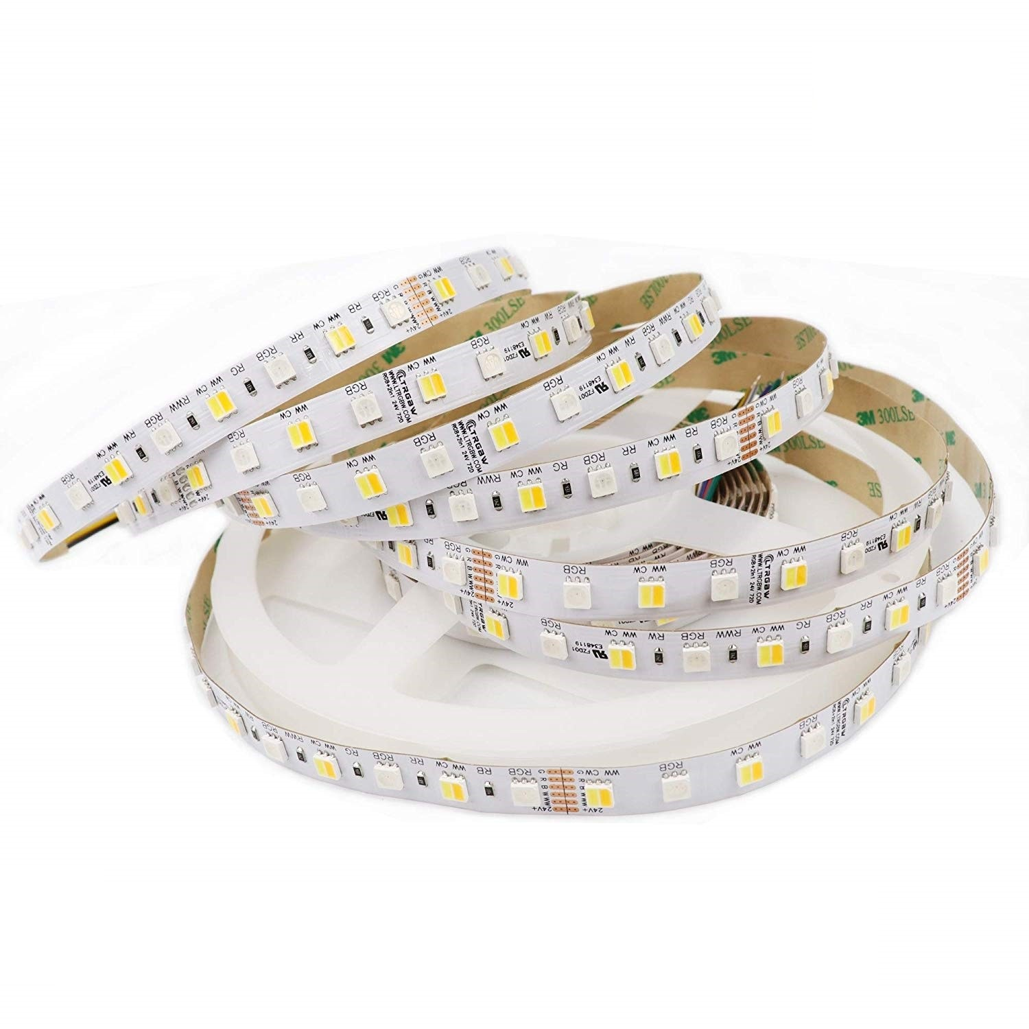 Ruban LED 5050SMD 360LEDs 24V RGB-CCT 2-in-1 Double Blanc RGB-CW-WW RGBW Bande LED Lumineuse 5M