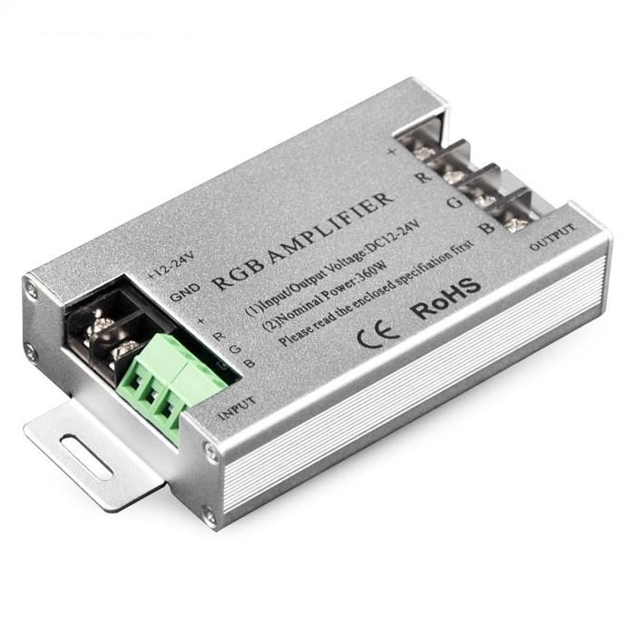LED Lighting 12V-24V 3CH 10A/CH Aluminum RGB Signal Repeater Max 360W