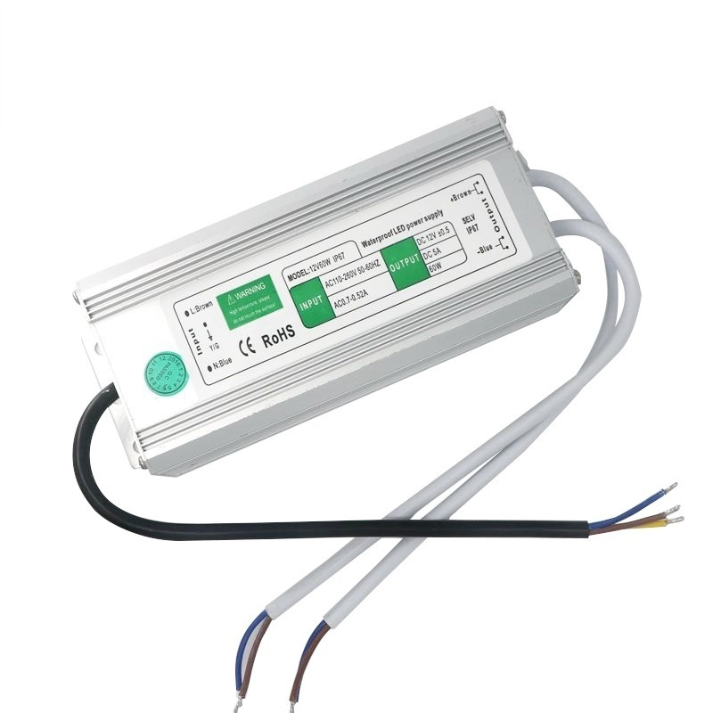 12V 5A 60W Waterproof IP67 Led Power Supply Driver Transformer