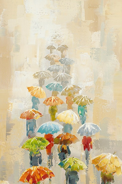 Sight in The Rain Hand Painted Oil Painting with Stretched Frame Wall Art 24 x 36 Inch
