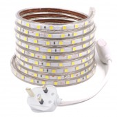 220V 60LEDs/M SMD5050 LED Strip Waterproof Flexible Light High Bright with UK Plug