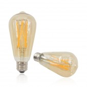 3Pcs Dimmable Vintage Retro ST64 Amber E26 6W LED Filament Light