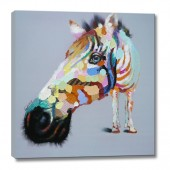 Colorful abstract horse Hand Painted Oil Painting with Stretched Frame Wall Art 32 x 32 Inch