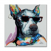 Cute Dog Wears Black Glasses Hand Painted Oil Painting with Stretched Frame Wall Art 32 x 32 Inch