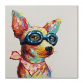 Cute Smart Dog with Glasses Hand Painted Oil Painting with Stretched Frame Wall Art 32 x 32 Inch