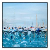 Flotilla Hand Painted Oil Painting with Stretched Frame Wall Art 32 x 32 Inch