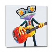 Happy frog playing guitar Hand Painted Oil Painting with Stretched Frame Wall Art 32 x 32 Inch