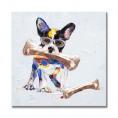 Nibbling dog Hand Painted Oil Painting with Stretched Frame Wall Art 32 x 32 Inch