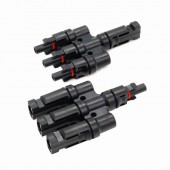 1 Pairs / Lot MC-4 Male / Female Cable Connectors , Solar Panel MC-4 3 To 1 T Branch Connectors One Female To Three Male LJ0150