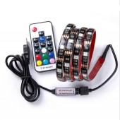5050 RGB USB LED Strip TV Background Lighting Kit Cuttable With 17Key RF Controller 1M/2M Set