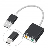 7.1 External USB Sound Card Type C / USB to 3.5mm Jack USB Audio Adapter Earphone Micphone for Macbook Computer Laptop PC