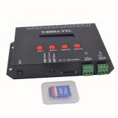 8 port off-line T-8000A pixel controller led sd card ,SPI(TTL)signal output,can control max 1024*8ports=8192pixels