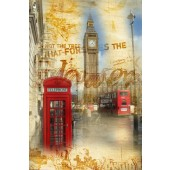 Vintage London Big Ben and Red Telephone Booth Canvas Print Retro Picture 24 x 36 Inch