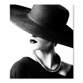 Modern Canvas Inkjet Print Art Figure Black Hat Elegant Woman Wall Pictures Giclee Print on Canvas Stretched 20 x 24 Inch