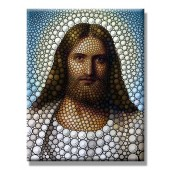 Modern Canvas Print Jesus Christ Lord Savior Poster Print Artwork Circle Portrait Giclee 20 x 24 Inch