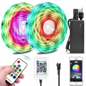 Color Chasing LED Strip Light Kits 10M/32.8ft Rainbow Colors LED Tape Lights Bluetooth Smart Phone APP & RF Remote Controlled Addressable RGB Waterproof LED Rope Lights for Christmas Room Decoration