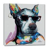 Cute Dog Wears Black Glasses Hand Painted Oil Painting With Stretched Frame Wall Art 24 x 24 Inch