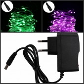 DC 12V 10m 100 Led String Christmas fairy Lights Silver Wire + 12v 1A/2A Power Supply Adapter