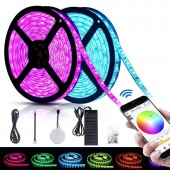DC24V 32.8ft 10m RGB LED Strip Lights WIFI Smartphone App Controlled 5050 LED Light Strip 600 LEDS Waterproof IP65