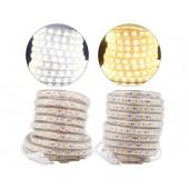 Tri-chip SMD 5050 LED strip 220V Waterproof Flexible Tiras Led Tape Light 60 leds/m 5m 10m Power Plug Clips