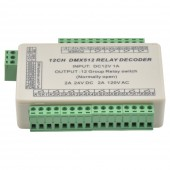 12 Channels DMX512 Decoder Switch Signal Controller Relay Output WS-DMX-RELAY-12CH
