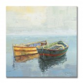 Drifting Wooden Boats Hand Painted Oil Painting With Stretched Frame Wall Art 24 x 24 Inch