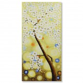 3D Hand-Painted Knife Palette Floral Paintings on Canvas Abstract Plum Blossom Wall Art 20 x 40 Inch