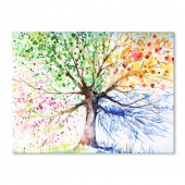 Modern Canvas Inkjet Print Art Landscape Four Seasons Colorful Trees Wall Pictures Giclee Print on Canvas Stretched 24 x 36 Inch