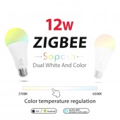 RGB+CCT 12W LED Bulb RGB Light AC100-240V ZigBee Smart Light Work E27