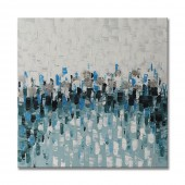 Hand Painted Oil Painting Abstract Blue and White Color Piece 40 x 40 Inch