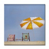Landscape Chair In The Beach 100% Hand Painted Oil Painting 24 x 24 Inch
