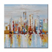 100% Hand Painted Oil Painting Landscape City Scape in knife pallet I Canvas Wall Art 32 x 32 Inch