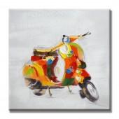 Animal Colorful Motocycle 100% Hand Painted Oil Painting 32 x 32 Inch