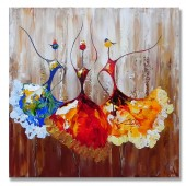 100% Hand Painted Oil Painting Abstract Contemporary Art Dancers I 32 x 32 Inch