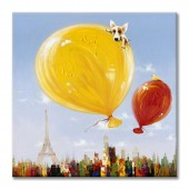 Animal Dog In The Balloon100% Hand Painted Oil Painting 32 x 32 Inch