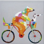 Animal Dog Ride Bicycle 100% Hand Painted Oil Painting 24 x 24 Inch