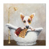 Animal The Dog Takes A Bath 100% Hand Painted Oil Painting 24 x 24 Inch