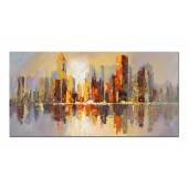 100% Hand Painted Oil Painting Landscape Abstract City Skyline 16 x 36 Inch