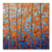 Hand Painted Oil Painting Landscape Orange Birch Forest 32 x 32 Inch