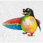 Animal Penguin with Surfboard 100% Hand Painted Oil Painting 32 x 32 Inch