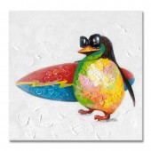 Animal Penguin With Surfboard 100% Hand Painted Oil Painting 24 x 24 Inch