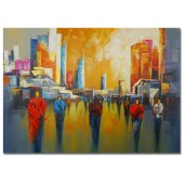 100% Hand Painted Oil Painting Landscape Abstract People in the City II 32 x 48 Inch