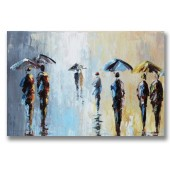 Hand Painted Oil Painting Abstract People Walking In The Rain Under Unbrella 32 x 48 Inch