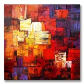 Hand Painted Oil Painting Abstract Red Colorful Piece Canvas Wall Art 32 x 32 Inch