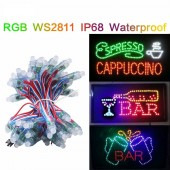 50pcs/unit DC5V WS2811 LED Pixel Module,Black/Green/White/RGB Wire String Lights Christmas Holiday,Addressable,IP68 Waterproof