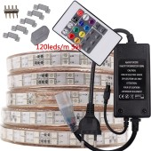 220V 110V LED RGB Strip 5050 120Leds/m IP67 Waterproof Outdoor Tira Flexible Ribbon Adapter Plug Kit