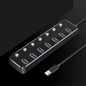 Aluminum 4 7 Port Hub USB Splitter High Speed 5Gbs USB 3.0 Hub On/Off Switch for MacBook Pro Laptop PC Hub CABLE