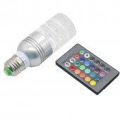 16 Colors Changing Energy Saving Clear Crystal E27 3W RGB LED Lamp Light AC 85-265V